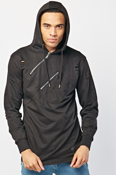 Distressed Zipper Front Hoodie