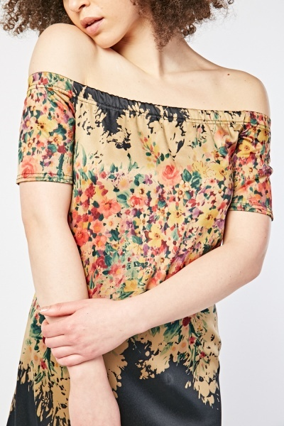 Floral Print Off Shoulder Dress