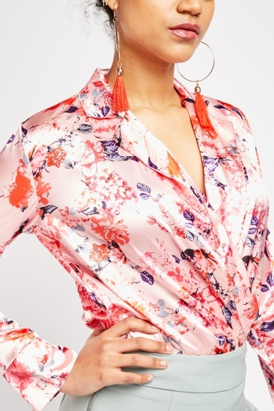Floral Sateen Wrap Bodysuit