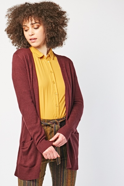 Long Line Plain Knitted Cardigan