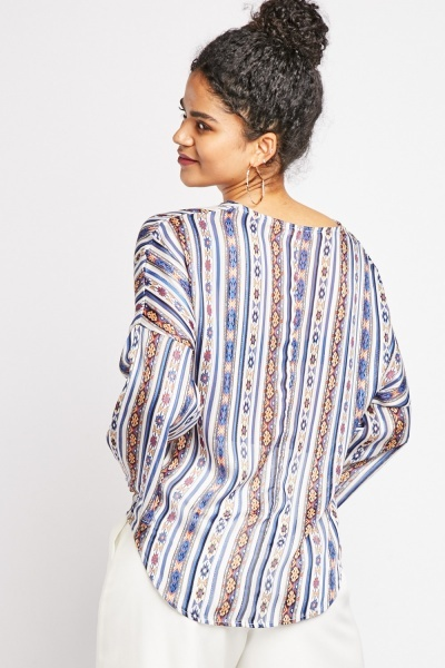 Metallic Insert Printed Wrap Top