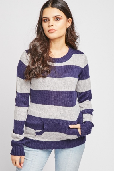 Pouch Pocket Front Striped Sweater