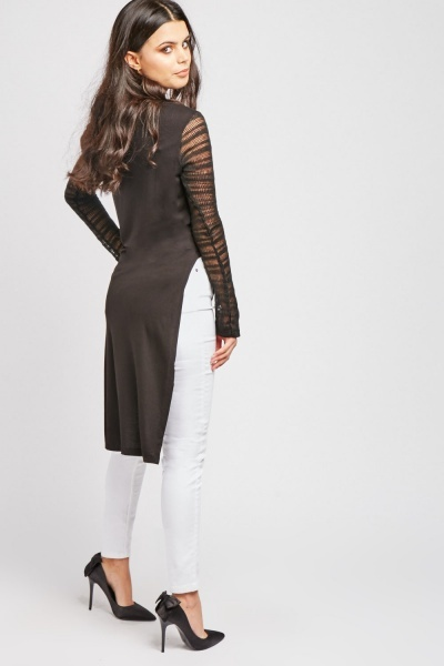 Sheer Sleeve Asymmetric Top