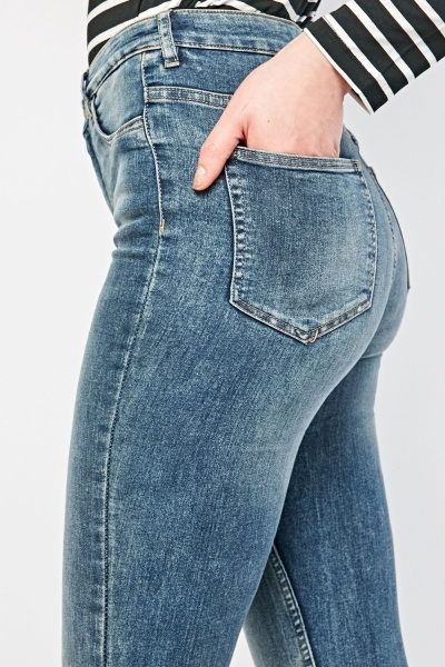 Skinny Fitted Washed Denim Jeans