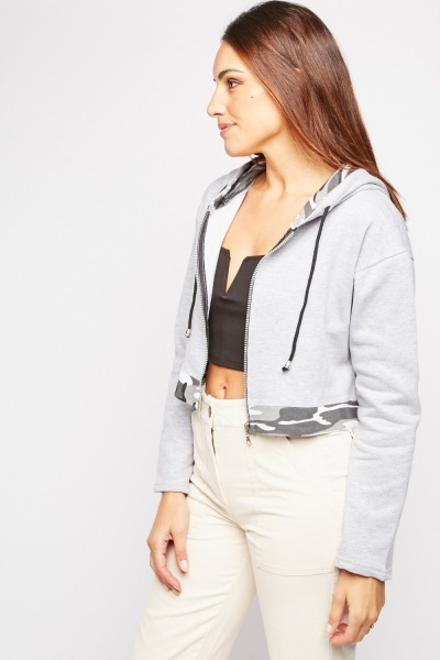 Camo Contrast Crop Hooded Jacket