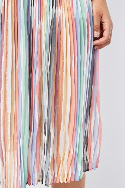 Candy Striped Pleated Skirt