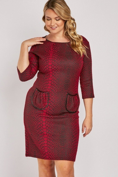 Embroidered Textured Midi Dress