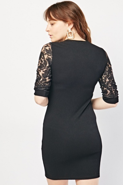Lace Sleeve Ribbed Bodycon Dress