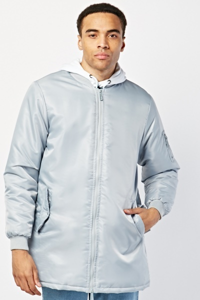 Long Line Padded Bomber Jacket