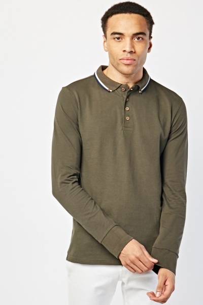 Long Sleeve Stripe Collar Polo Top