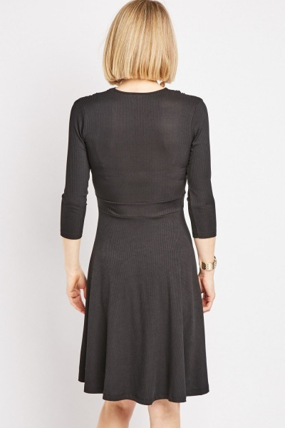 Long Sleeve Wrap Rib Swing Dress