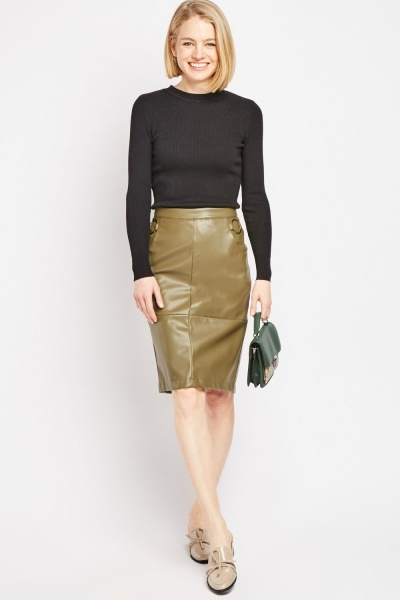 O-Ring Faux Leather Midi Skirt