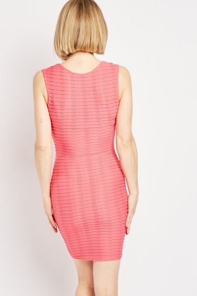 Scoop Neck Textured Bodycon Dress