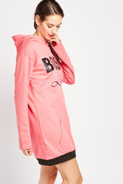 Slogan Print Hooded Dress
