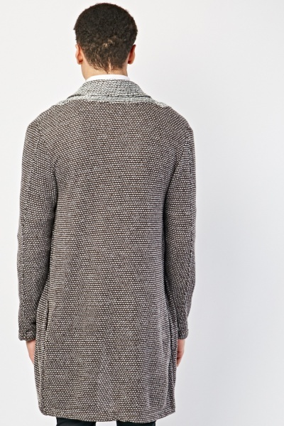 Speckled Knitted Long Line Cardigan