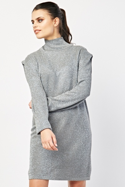 High Neck Shimmery Knit Dress