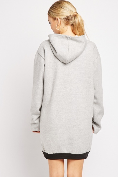 Metallic Logo Front Hooded Dress