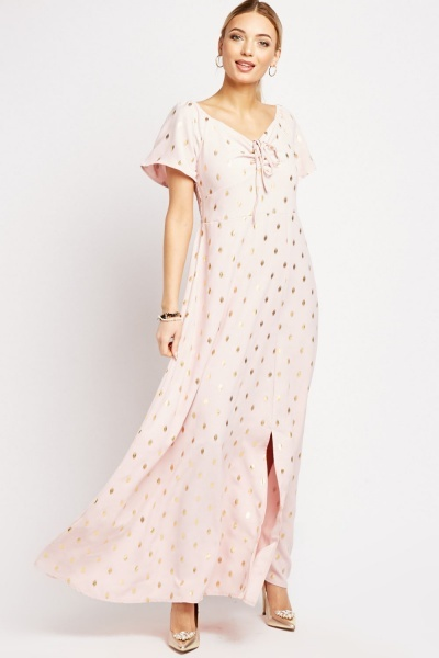 Metallic Polka Dot Maxi Dress