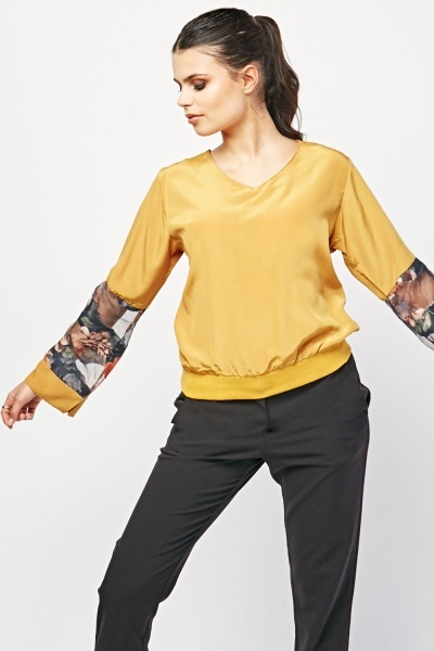 Sheer Floral Sleeve Panel Blouse