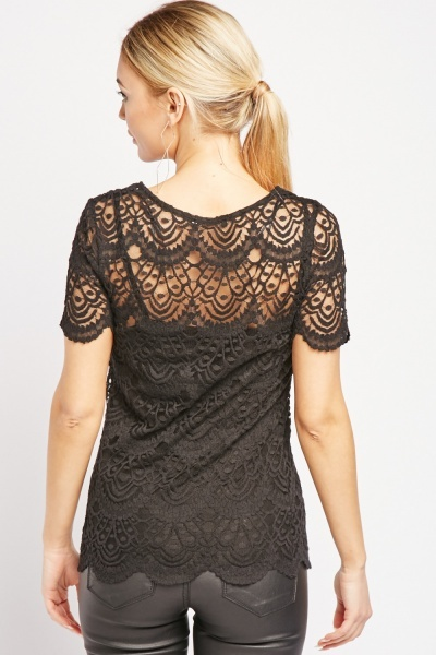 Short Sleeve Scallop Lace Top