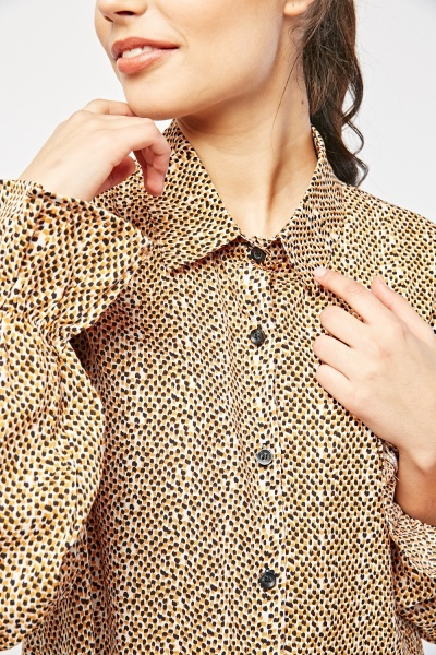 Speckled Print Flared Shirt Dress