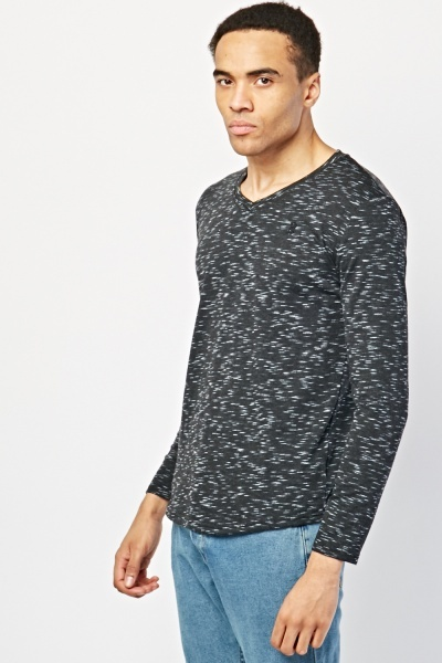 Speckled V-Neck Long Sleeve Top