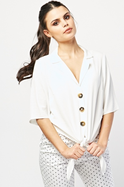 Tie Up Front White Shirt
