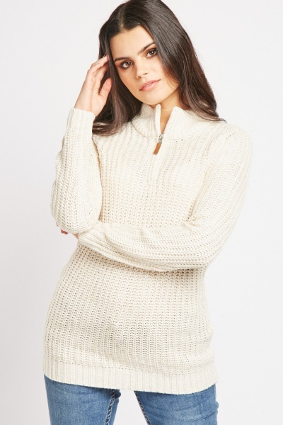 Zip Up Two Tone Knit Jumper