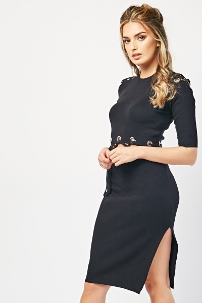 Criss-Cross Eyelet Trim Dress