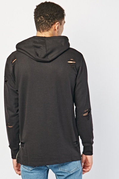 Distressed Zipper Detail Hoodie