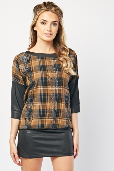 Encrusted Plaid Contrast Mini Dress