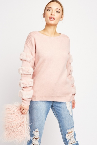 Faux Fur Trim Chunky Jumper