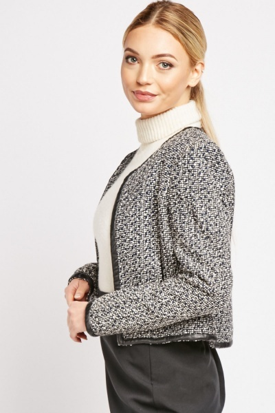 Faux Leather Trim Tweed Jacket