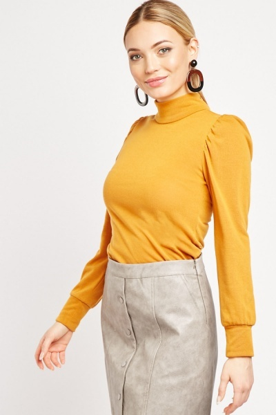 Gathered Long Sleeve Jersey Top