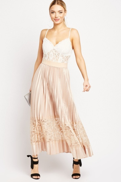 Lace Insert Pleated Sateen Skirt