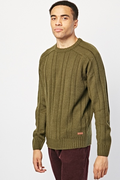 Rib Panelled Knit Jumper