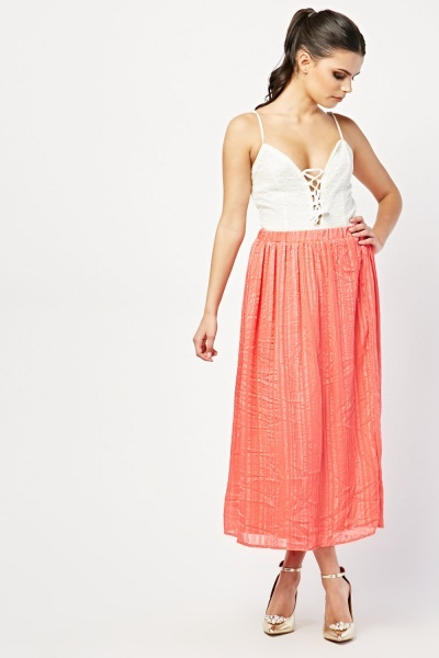 Shimmery Coral Maxi Skirt