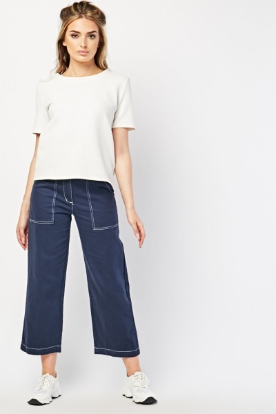 Top Stitched Crop Trousers