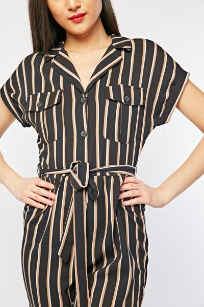 Lapel Front Striped Jumpsuit