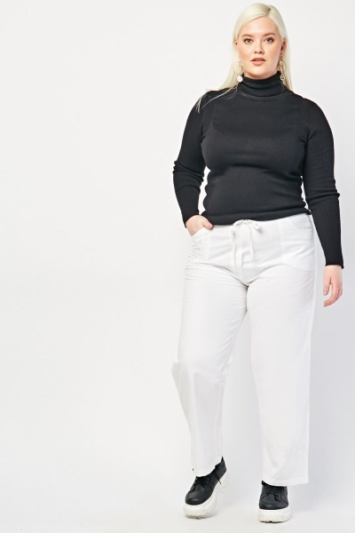 Straight Fit Embroidered Chino Trousers