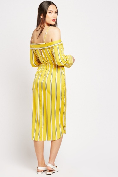 Striped Off Shoulder Shirt Dress