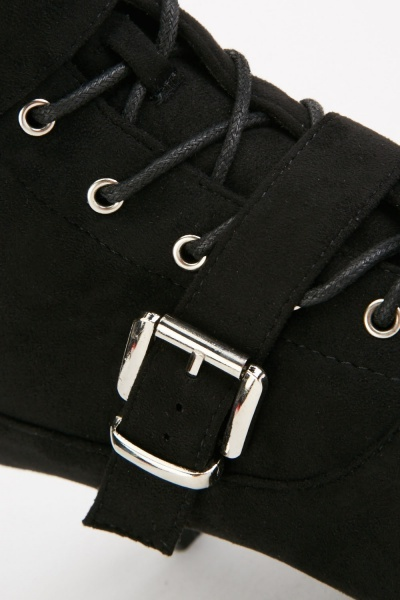 Buckled Faux Suede Ankle Boots