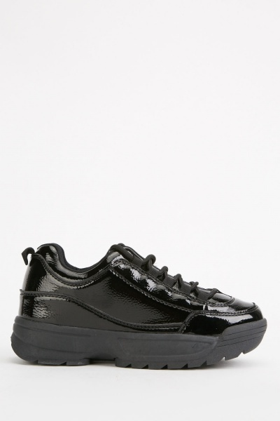 Chunky Vinyl Lace Up Trainers