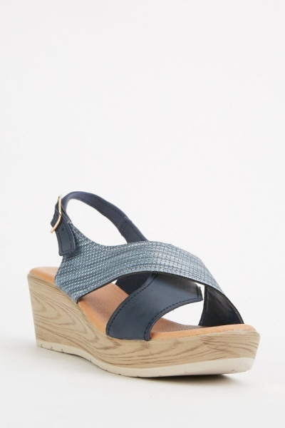 Cross Textured Strap Sandals