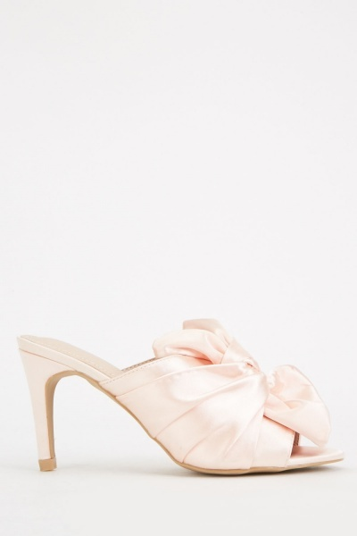 Knotted Sateen Heeled Mules