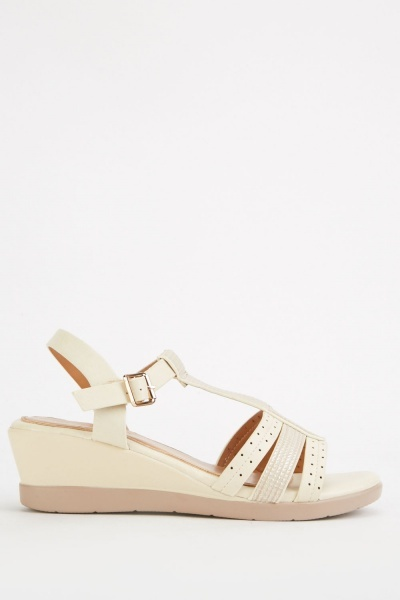 Perforated Wedge Beige Sandals