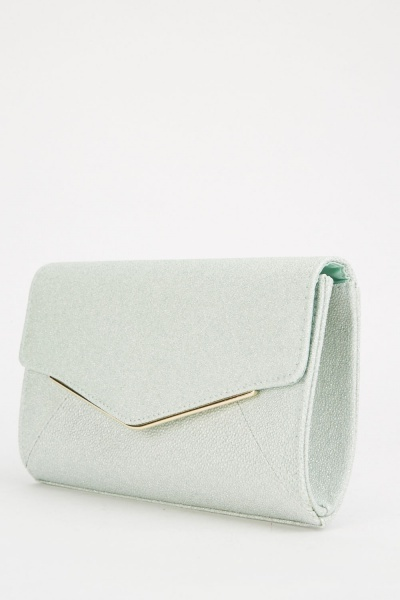 Shimmery Textured Envelope Clutch Bag