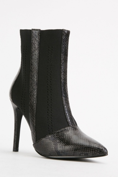 Snake Print Faux Leather Boots