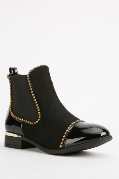 Studded Trim Ankle Boots