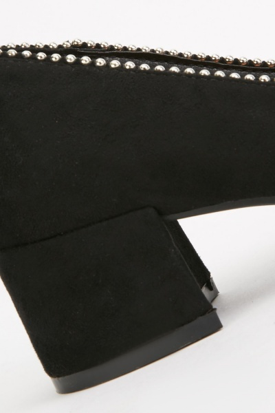 Studded Trim Block Heels